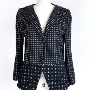 Anthro CARTONNIER Leather Trim Cross Peplum Jacket